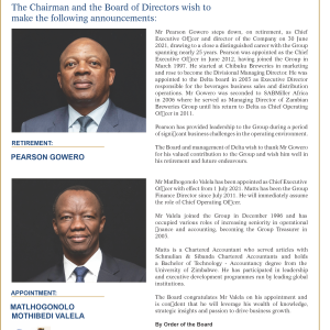RETIREMENT AND APPOINTMENT OF CHIEF EXECUTIVE OFFICER