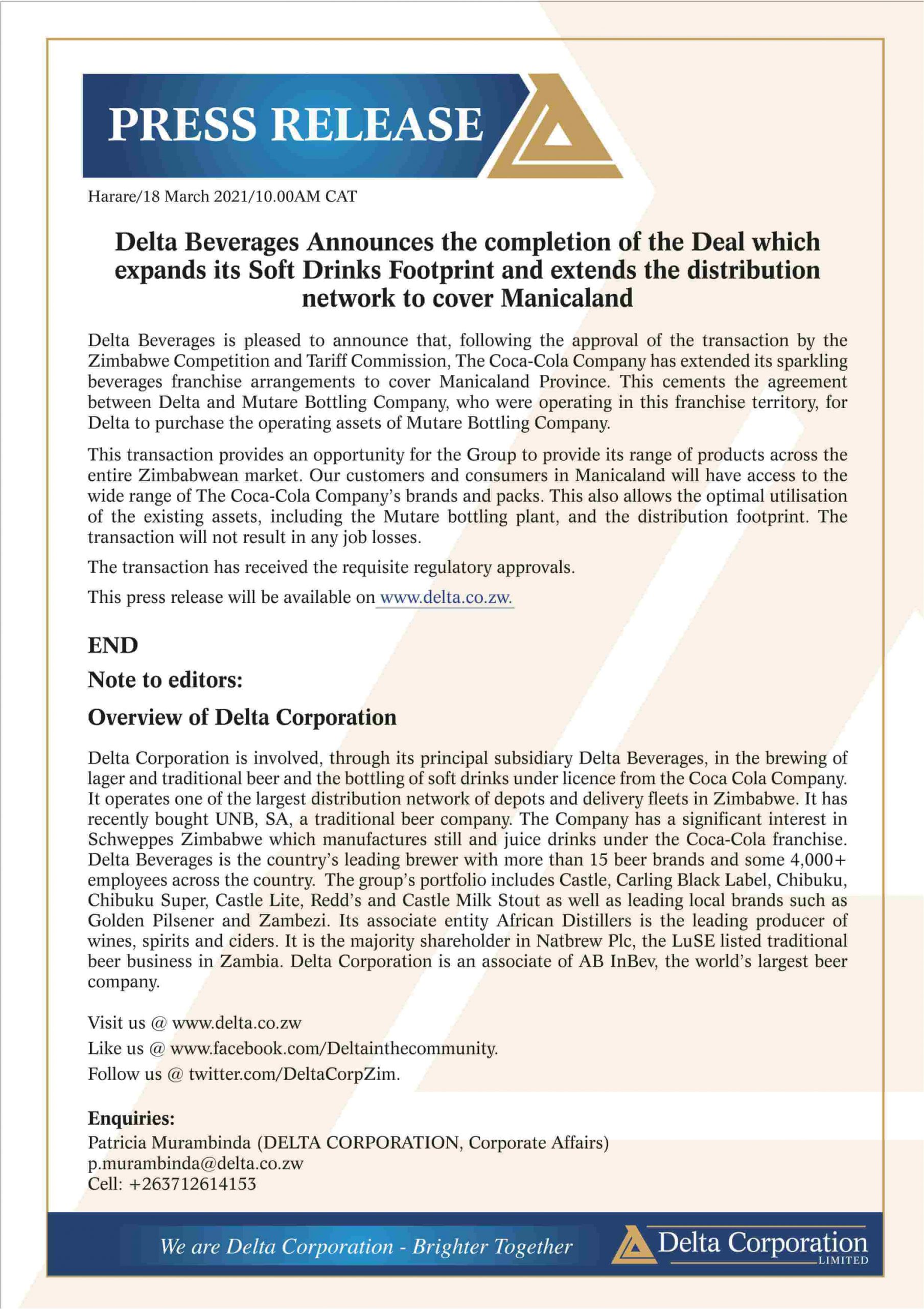 Delta Beverages Announces the completion of the Deal which expands its Soft Drinks Footprint and extends the distribution network to cover Manicaland