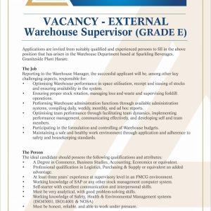 VACANCY  Warehouse Supervisor rev